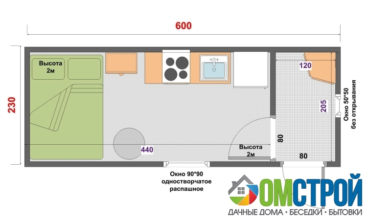 Дачная деревянная бытовка 6х2,3 м с 1 перегородкой, прихожей и комнатой