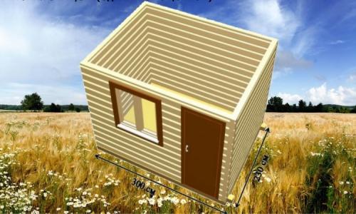 Дачная деревянная бытовка 3х2,3 м одним помещением