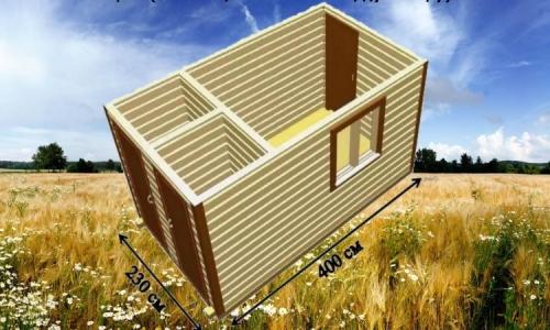 Дачная деревянная бытовка 4х2,3 м с комнатой, душевой и санузом
