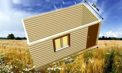 Дачная деревянная бытовка 4,5х2,3 м одним помещением