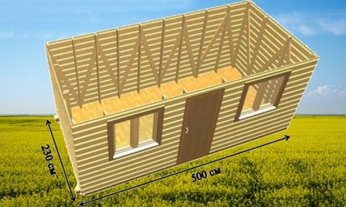 Хозяйственная постройка 5х2,3 м, 2 окна, распашонка