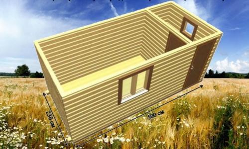 Дачная деревянная бытовка 5х2,3 м с 1 перегородкой, прихожей и комнатой