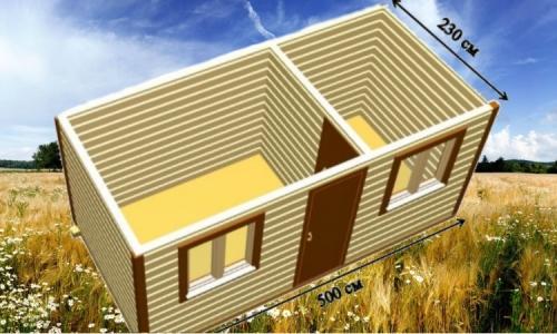 Дачная деревянная бытовка 5х2,3 м с 1 перегородкой, комнатой и кухней