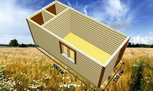 Дачная деревянная бытовка 5х2,3 м с комнатой, душевой и санузлом
