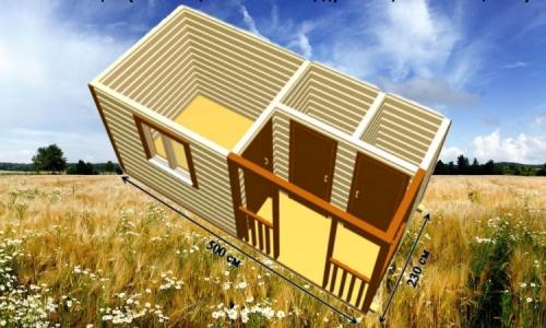 Дачная деревянная бытовка 5х2,3 м с комнатой, душевой и хозпомещением