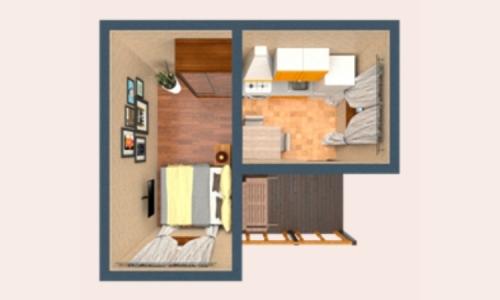 Каркасно-модульный дом Венеция 4х4,6м с террасой, кухней и спальней