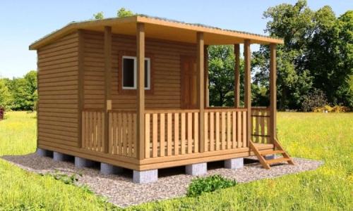 Каркасно-модульный дом Соната 5х4,6 м с террасой, душевой и спальней