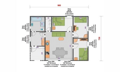 Дачный дом Авалон 7,3х9,6 м