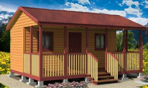 Каркасно-модульный дом Капелла 6х4,6 м с верандой, прихожей и 2 спальнями