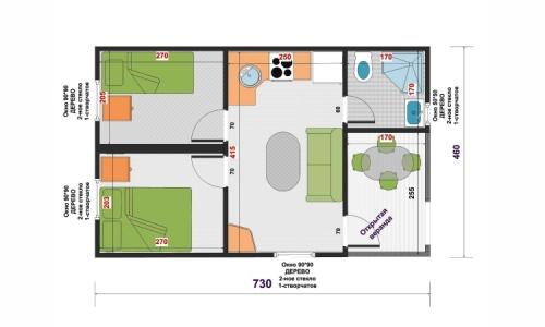 Дачный  дом Канна Люкс 7,3х4,6 м